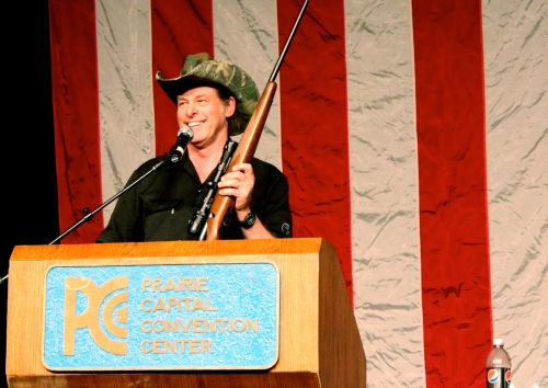 Ted Nugent auctioned off a rifle for the Sangamon County Republican Party on Feb. 10, 2012, at the Prairie Capital Convention Center in Springfield, Ill. He was the keynote speaker at the group's annual Lincoln Day Dinner. (Brian Mackey/WUIS)