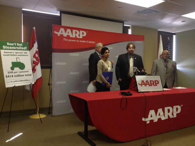 AARP and Citizens'  Utility Board members protest SB1665 and HB2414, measures create a new regulatory process for natural gas companies seeking to charge higher prices for gas delivery.