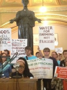 Illinois People's Action's Susi Rubi calls for a moratorium on fracking in Illinois.