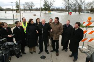Gov. Pat Quinn on the scene of flooding in Moline Friday