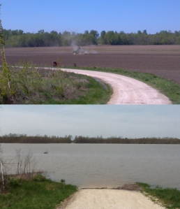 """Dry in April 2012 (top), this stretch of Calhoun County farmland was flooded by an overflowing Mississippi River in April 2013. (Courtesy Calhoun County Farm Bureau)"" - from Harvest Public Media"