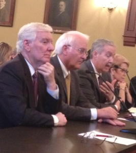 U. of I. President Robert Easter, second from left, testifies at the Statehouse in this May 16, 2013 file photo. (WUIS)