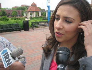 Champaign attorney Erika Harold talks to the media during a campaign stop in Springfield on June 4, 2013. Harold, a Republican, announced earlier in the day she will challenge U.S. Rep. Rodney Davis in the 2014 Republican primary. (Chris Slaby/WUIS)