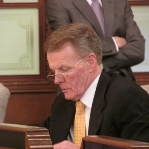House Speaker Mike Madigan sits in the front row at a pension committee Tuesday.
