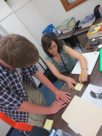 Jodi Patton helps a student at Southeast High School