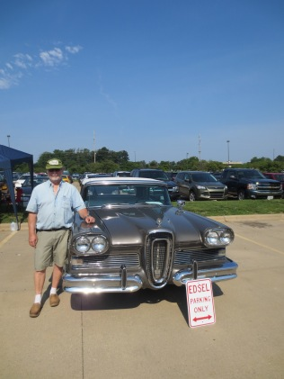 Reg Brown w/ a car owned by his father and Edsel desginer, Roy Brown